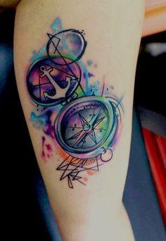 anchor tattoos, leg tattoos, tattoo designs, watercolor tattoos