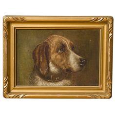 1stdibs   Vintage oil dog painting