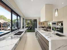 Photo of a kitchen design from a real Australian house - Kitchen photo 8312373 Luxury Kitchen Design, Kitchen Room Design, Dream Home Design, Luxury Kitchens, Home Decor Kitchen, Interior Design Kitchen, Home Kitchens, House Design, Decorating Kitchen