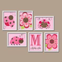 LADYBUG Wall Art Pink Brown Polka Dots Custom Personalized  Name Monogram Initial Flower Set of 6 Prints   Gallery Baby  Decor