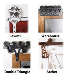 These are some of our more unusual styles of barn door hardware. http://rusticahardware.com/barn-door-hardware/