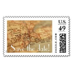 NEW YORK Vintage Map Save the Date Postage