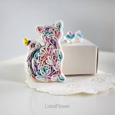 Graceful silhouette of the Cat, jewelry set, Cat pin, Cat brooch with earrings, polymer clay Cat, quilled Cat jewelry by Liskaflower on Etsy