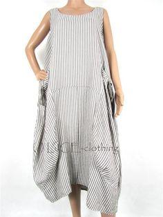 NEW Italian Linen Oversize Lagenlook Fine Stripe Parachute Maxi Dress. Nyári  OutfitekNői ... 6918a90497
