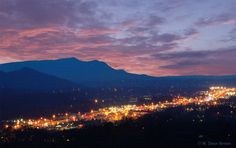 Pigeon Forge lights & Great Smoky Mountains at sunset... Absolutely gorgeous!