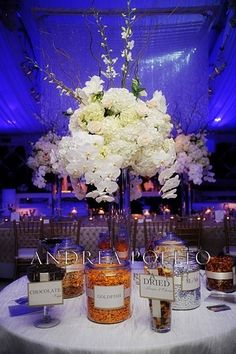 Table and floral arrangements