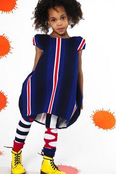 Bodebo Ambre dress redwhite stripe on blue