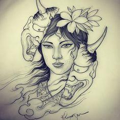 Woman hannya done by Hanya Tattoo, Sak Yant Tattoo, Tattoo Mascara, Hannya Maske Tattoo, Japanese Demon Tattoo, Japanese Tattoo Women, Body Art Tattoos, Sleeve Tattoos, Tattoo Painting