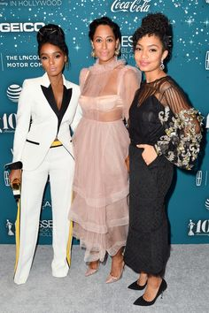 Janelle Monae, Tracee Ellis Ross, and Yara Shahidi - The Annual Black Women in Hollywood Red Carpet Was Beyond Fabulous Beautiful Black Women, Beautiful People, Look Fashion, Fashion Outfits, Casual Outfits, Womens Fashion, Hollywood Red Carpet, Tracee Ellis Ross, Dressing