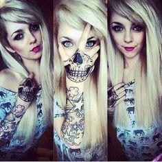 Skull mouth on hand - skull mask tattoo - cute sexy girl punk blonde art Skull Hand Tattoo, Mask Tattoo, Skull Tattoos, Sexy Tattoos, Unique Tattoos, Sleeve Tattoos, Tattoo Art, Giraffe Tattoos, Lotus Tattoo