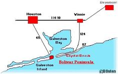 Head on down to the first leg of the Texas Riviera run, Crystal Beach to Galveston Island! From Beaumont, Texas take 1-10 to Winnie and Hwy 124 to the beach. You'll drive through Crystal Beach and take the Bolivar ferry to Galveston Island. It's a wonderful drive along Texas' Gulf of Mexico.