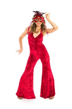 Fire Engine Red Velvet Jumpsuit +