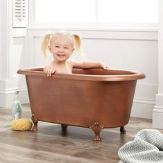 32 Baby Hammered Copper Clawfoot Tub A miniature version of our classic design, this hammered copper clawfoot tub has a rolled rim and is great as a baby bath or as a dog wash tub. Clawfoot Tub Bathroom, Bathroom Kids, Bathrooms, Bathroom Showers, Bathroom Stuff, Bathroom Fixtures, Copper Tub, Hammered Copper, Chen