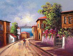 eski istanbul sokak tabloları - Google'da Ara Landscape Art, Landscape Paintings, Oil Paintings, Turkish Art, Beautiful Artwork, Old Houses, Home Art, Amazing Art, Istanbul