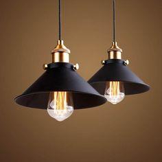 Modern Nordic Industrial Hanging Lamp Warmly - Industrial Pendant Lighting - Ideas of Industrial Pendant Lighting Farmhouse Pendant Lighting, Vintage Pendant Lighting, Industrial Pendant Lights, Retro Lighting, Home Lighting, Lighting Ideas, Pendant Lamps, Industrial Lamp Shade, Farmhouse Chandelier