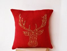 Amore Beaute Handcrafted Deer Pillow Cover - Animal Pillowcase in Red Burlap with Stag Embroidered in Gold Sequin -Burlap Pillow Covers - Gold Deer Pillow Covers - Gold Pillow Covers x Red Throw Pillows, Gold Pillows, Burlap Pillows, Throw Pillow Covers, Cushion Covers, Bed Covers, Deer Pillow, Pillow Inspiration, Christmas Pillow Covers