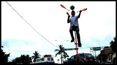 Exceptional unicycle street performance artist in Bucerias, Mexico