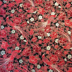 Asian Japanese QH13 Floral Red Bird Cherry Blossom Flower Cotton Quilt Fabric