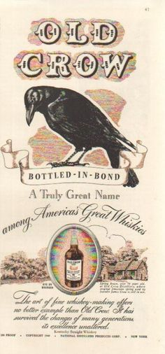 1940 Old Crow Bourbon Rye Whiskey~Spring House~Among America's Great Whiskies Ad | eBay