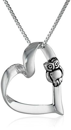 """Sterling Silver Open Heart Pendant Necklace with Owl, 18"""" Amazon Curated Collection http://www.amazon.com/dp/B0067K8W98/ref=cm_sw_r_pi_dp_S3Cxub1KSQ0JH"""