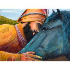 Beautiful Sikh Art of Guru Gobind Singh Ji with his beloved horse 'Neela'