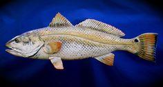 Raku fish Redfish Earthenware, Stoneware, Clay Fish, Fish Sculpture, Hand Built Pottery, Red Fish, Ocean Art, Fly Fishing, Ceramic Art