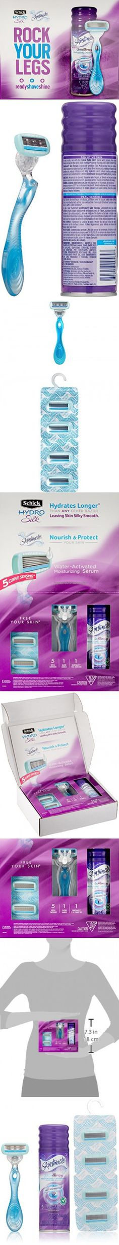 Schick Hydro Silk Shaving Starter Gift Set for Women with Shower Ready Razor Refill Blades and Skintimate Skin Therapy Shave Gel for Sensitive Skin