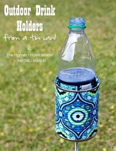 Outdoor Drink Holder Tutorial | Make your own outdoor drink holder to use out on the lawn. Perfect for outdoor games and any time you need a drink holder.
