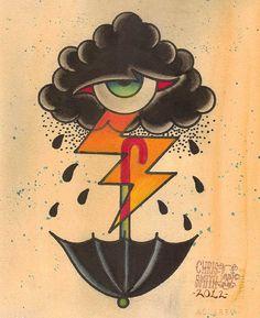 Eye Cloud by Chris Smith Raincloud w Umbrella Tattoo Canvas Art Print
