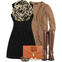 Weekend + Work: Black Dress + Leopard Scarf + Tan/Camel Cardigan + Tall Brown Flat Boots + Orange & Gold Accents