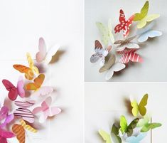 DIY Hand-cut Recycled Magazine Butterflies for a kids room Origami Butterfly, Butterfly Wall Art, Paper Butterflies, Butterfly Crafts, Paper Flowers, Flower Wall, Diy Paper, Paper Art, Paper Crafts