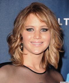 """Lob haircut = """"long bob"""".  Jennifer Lawrence is a great example of pulling this off with a round face."""