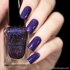 Here's a brilliant blue jelly holographic nail polish with multi-chrome flakes and silver holo flakies to paint your nails with. This polish can be worn alone in 3 coats. Purple Nail Polish, Holographic Nail Polish, Best Nail Polish, Purple Nails, Fun Lacquer, Jelly Nails, Nail Treatment, Halloween Nail Art, Prom Nails