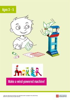 Ask your children to build a machine that is powered by either the wind or by blowing at it. Ask the children to use LEGO DUPLO bricks and other materials from the classroom. Before they begin building, have them brainstorm what helpful use they want the machine to have. When they're done, they can explain and demonstrate it to their classmates, and this will help develop observing and describing skills.