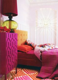 Love this bright bedroom, but really love that painted chest!