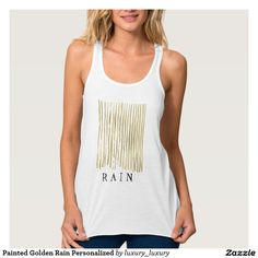Painted Golden Rain Personalized Flowy Racerback Tank Top