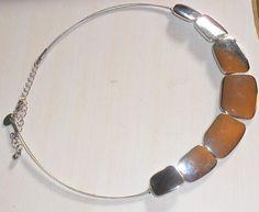 """Lia Sophia Silverado Necklace Collar Silvertone 16-19"""" Shapes"""