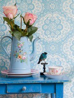 blue pink white coffee pot vase bird teacup roses wallpaper