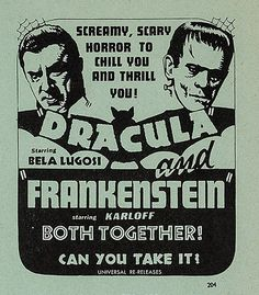 DRACULA (1931) and FRANKENSTEIN (1931) double bill-1938