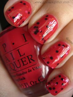 OPI - Too Hot To Hold 'Em and Love & Beauty unnamed (red, silver, and black hexes) super adorable!