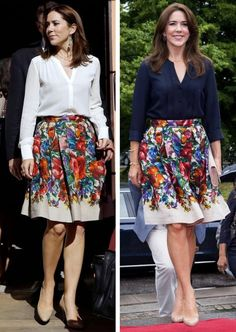 royalroaster: Crown Princess Mary in Dolce & Gabbana floral skirt Stylish Summer Outfits, Chic Outfits, Fashion Outfits, Princesa Mary, Denmark Fashion, Princess Marie Of Denmark, Shorts Longs, Estilo Real, Queen Outfit
