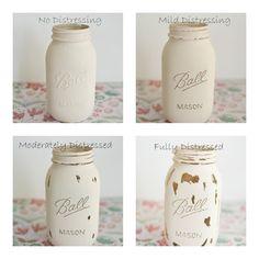 Customizable Painted Distressed Mason Jars by PinkBirdieJar