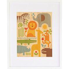 Petit Collage Safari Parade, Small Framed Art & Reviews   Wayfair