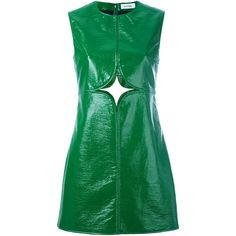 Courrèges - cut out shift dress - women -... (4.460 BRL) ❤ liked on Polyvore featuring dresses, green, green cut out dress, viscose dress, cotton shift dress, green cotton dress and green shift dress