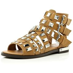River Island Brown studded Gladiator sandals ($70) ❤ liked on Polyvore