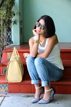 Summery Real & Simple White Tank with Jeans