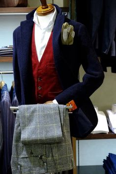 Grey, blue and burgundy (Prince of Wales check pants, navy blazer, maroon vest, gloves)