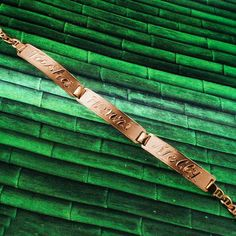 Arabic Name Bracelet, Rose Gold Plated, Silver, Personalized Name in English & Arabic Engraved Letters, 3 Name, Slim, BR012C #GoldJewelleryArabic