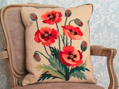 Vintage 60's Needlepoint Large Pillow Red Orange Poppies with Green Velvet Back