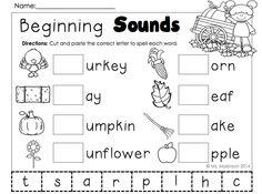 November Printables - Kindergarten Beginning Sounds (cut and paste)